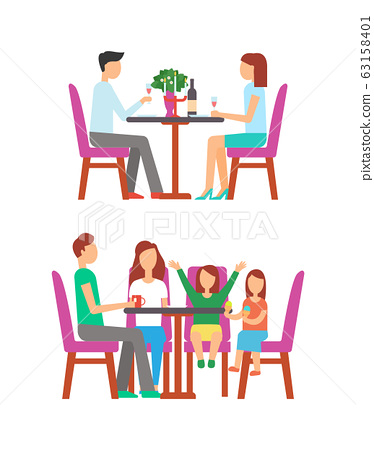 Family at Bistro, Couple Dining in Rich Place 63158401