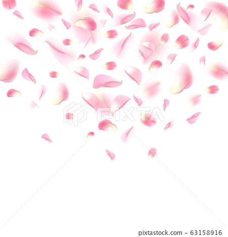 Background with realistic flying rose petals. Pink 63158916