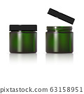 Green glass jar for cosmetic cream. Realistic 63158951