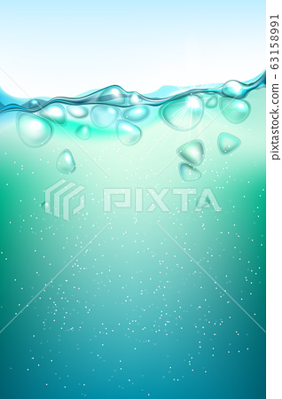 Transparent air bubbles under the water. 63158991