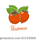 Persimmon isolated on white background 63159068