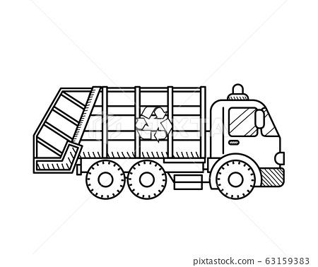 Garbage truck icon 63159383