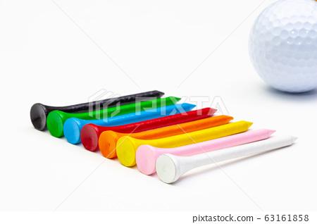 Golf set - golf ball and wooden tees. 63161858