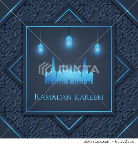Beautiful Ramadan Kareem greeting poster or background, vector illustration 63162510