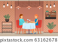 Couple on Date in Restaurant, Eat and Drink Wine 63162678