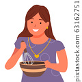 Woman, Housewife Whip Ingredients in Bowl by Whisk 63162751