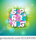 Vector Illustration on a Spring Nature Theme with Beautiful Colorful Flower on Green Background. Floral Design Template with Typography Letter for Banner, Flyer, Invitation, Poster or Greeting Card. 63164590