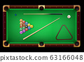 American Pool table with pool cue and glossy balls and other equipment. Vector realistic 3D detailed 63166048