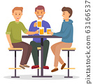 Smiling Male Friends Drinking Beer in Pub Vector 63166537