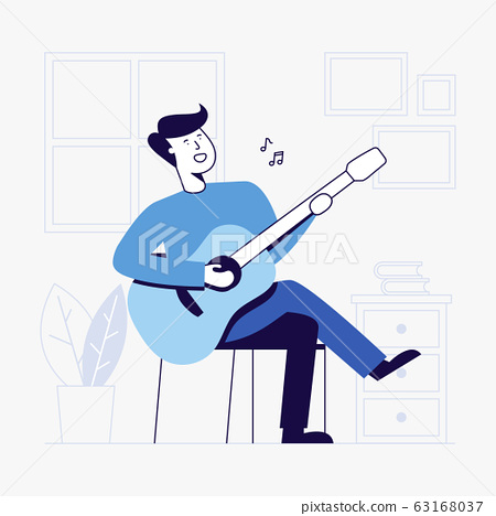 young man playing guitar in living room. 63168037