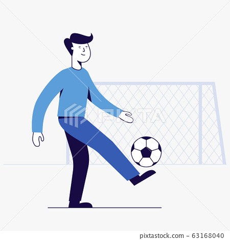 young man playing football. 63168040