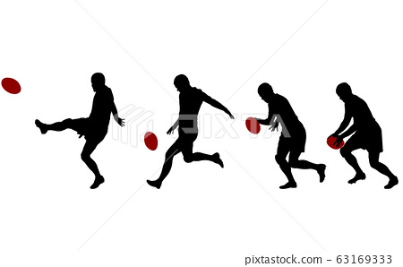 rugby player kicking ball in four steps 63169333