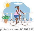 Woman Riding Bicycle on Promenade, Active Sport 63169532