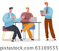 Team of Coders or Businessmen With Laptop Vector 63169555