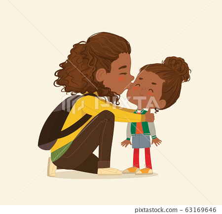 Illustration of a Mother Gives a Goodbye Kiss to her daughter. African American Mum Gives Kiss to the child at the school door. Preschool girl say hello to mom at Montessori school. Vector. Isolated. 63169646