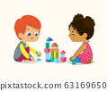 Preschool Red Hair Boy and African American Girl Kids playing with wooden bricks and blocks together in kindergarten room. Vector illustration isolated on white background 63169650