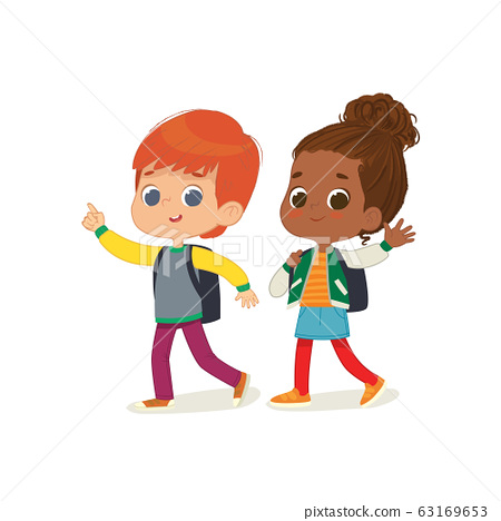 Vector illustration of two kids with the backpacks are going to school. Preschool friends Redhair boy and African American girl walks to school. 63169653