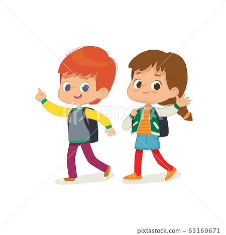 Vector illustration of two kids with the backpacks are going to school. Preschool friends boy and girl are walk to school. Brother and sister isolated. 63169671