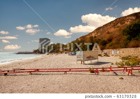 Odessa, Ukraine. . View of one of the most beatuful sandy beach of the Black sea coast. 63170328