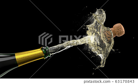 popping cork of a bottle of champagne 63170843
