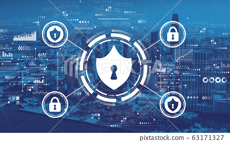 Cyber security theme with downtown San Francisco 63171327
