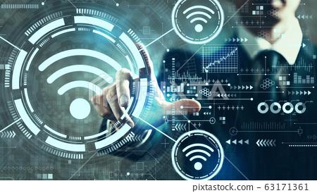 Wifi theme with businessman 63171361