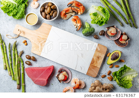 Healthy Clean eating concept. Vegetables, seafood, 63176367