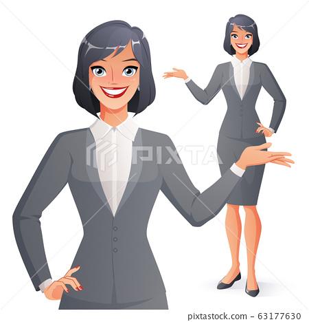 Beautiful smiling businesswoman presenting. Full 63177630