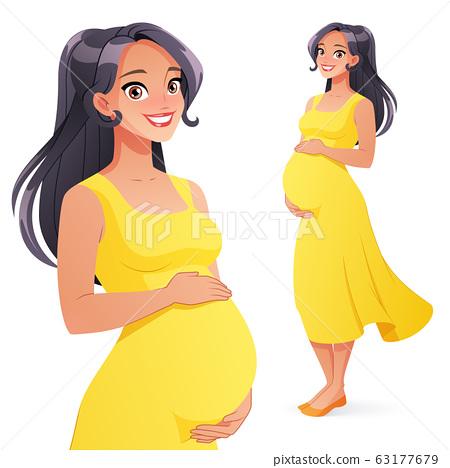 Beautiful Asian smiling pregnant woman. Full 63177679