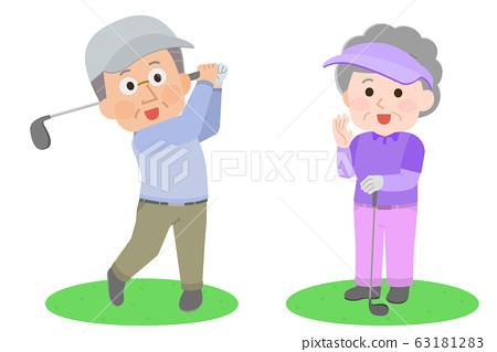 高爾夫高級男人和女人圖 63181283