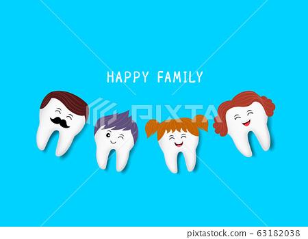 Happy Cute Family Cartoon Tooth Characters Stock Illustration 63182038 Pixta