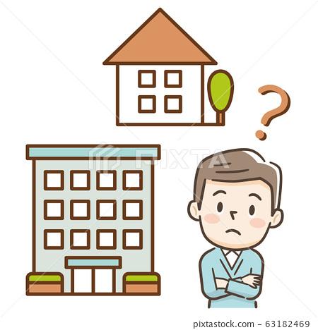 주택 또는 아파트 망설 남성 63182469