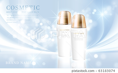 3D elegant cosmetic bottle container with shiny light blue glimmering background template banner. 63183074
