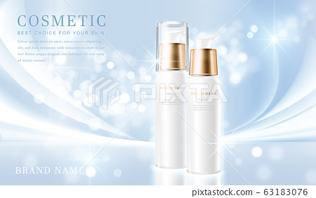 3D elegant cosmetic bottle container with shiny light blue glimmering background template banner. 63183076