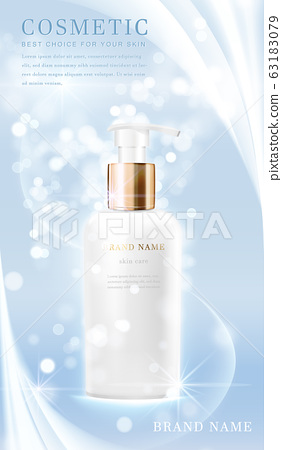 3D elegant cosmetic bottle container with shiny light blue glimmering background template banner. 63183079