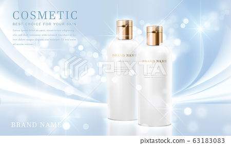3D elegant cosmetic bottle container with shiny light blue glimmering background template banner. 63183083