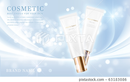 3D elegant cosmetic bottle container with shiny light blue glimmering background template banner. 63183086