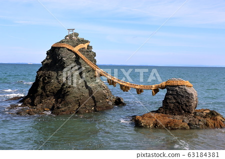 "Meoto Iwa ""Married Couple Rocks"" of Futami, in Mie Japan, a sacred Shinto island 63184381"