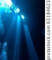 멕시코 세노테의 빛내림 63184623