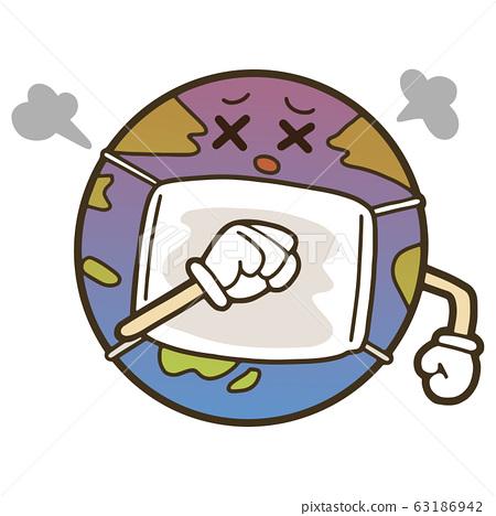 地球咳嗽,口罩和發燒的插圖 63186942