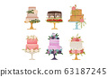 Cakes Decorated with Flowers Standing on Pedestal Cake Plate Vector Set 63187245