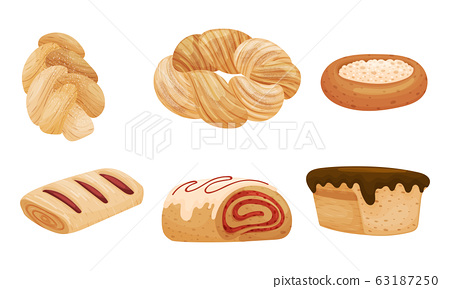 Sweet Pastry and Flour Products Like Cream-filled Bun and Muffin with Chocolate Topping Vector Set 63187250