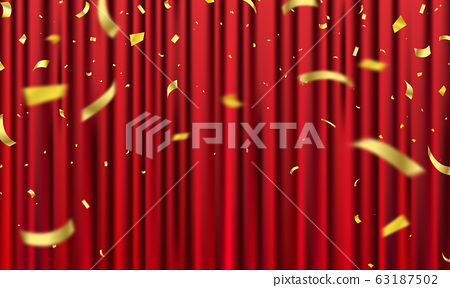 Red curtain background. Grand opening event 63187502