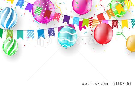 color balloons, confetti concept design template 63187563