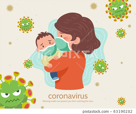Anxious mom and baby in face mask 63190282