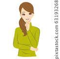 여성 생각 떠오르는 미소 63193268