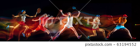Creative collage of sportsmen in mixed and neon light on black background, flyer, motion and action 63194552