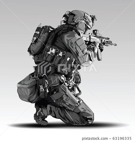 Vector Policeman Tactical Shoot Illustration. 63196335