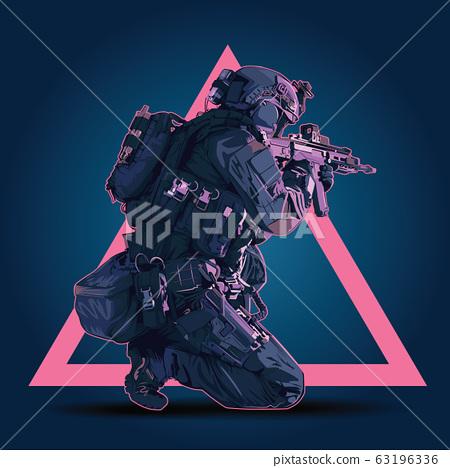 Vector Policeman Tactical Shoot Illustration. 63196336