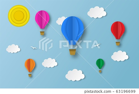 colorful hot air balloons flying 63196699